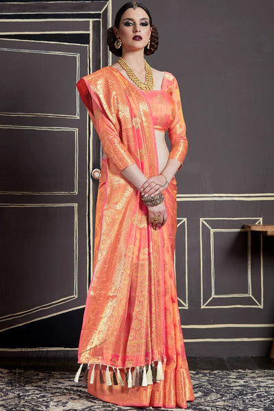 Indi Fashion Peach Two Tone Silk Saree