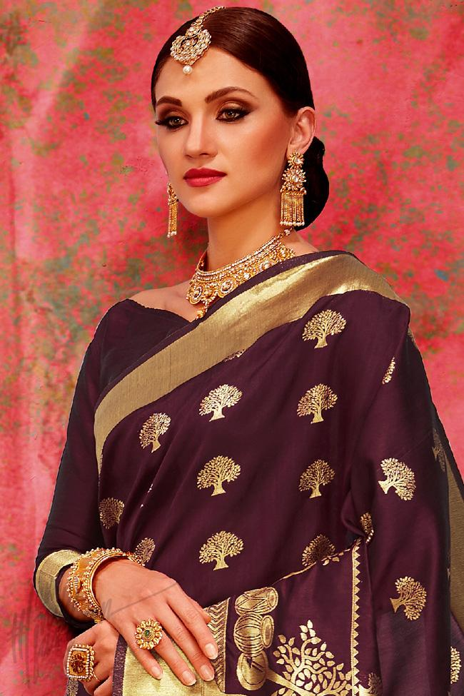 Indi Fashion Dark Purple Cotton Silk Party Wear Saree