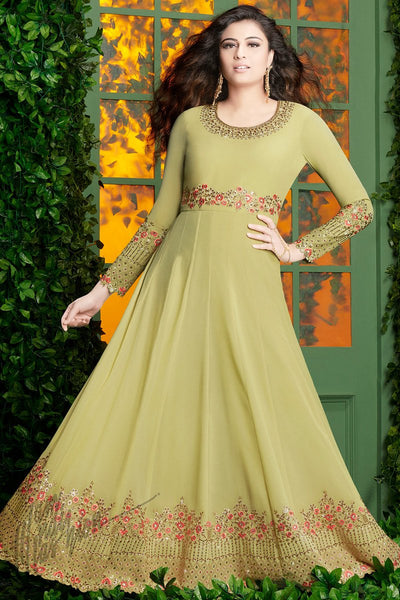 Indi Fashion Light Olive and Pink Georgette Party Wear Floor Length Suit