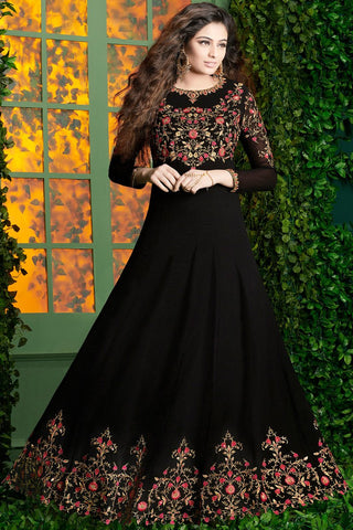 Indi Fashion Black and Red Georgette Party Wear Floor Length Suit