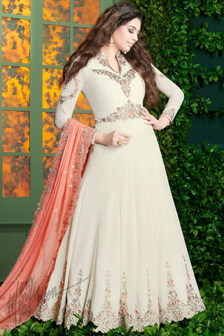 Indi Fashion White and Peach Georgette Party Wear Floor Length Suit