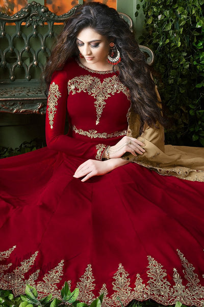 Indi Fashion Red and Beige Georgette Party Wear Floor Length Suit