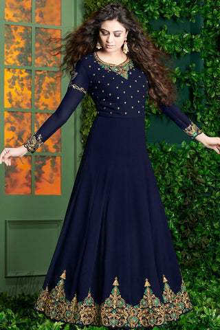 Indi Fashion Navy Blue and Green Georgette Party Wear Floor Length Suit
