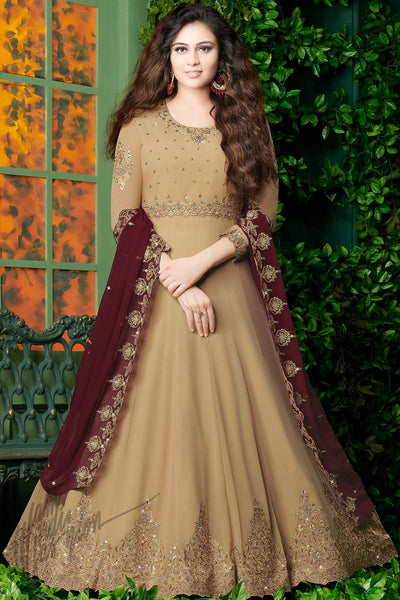 Indi Fashion Beige and Wine Georgette Party Wear Floor Length Suit