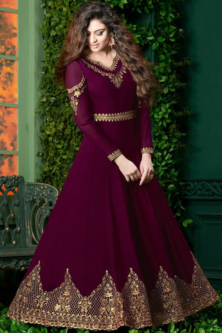 Indi Fashion Dark Purple and Pink Georgette Party Wear Floor Length Suit