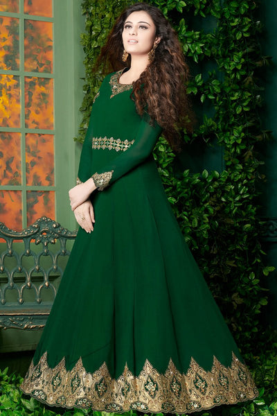 Indi Fashion Bottle and Light Green Georgette Party Wear Floor Length Suit