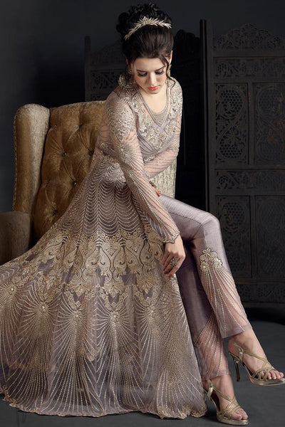 Indi Fashion Light Mauve Net and Silk Party Wear Suit