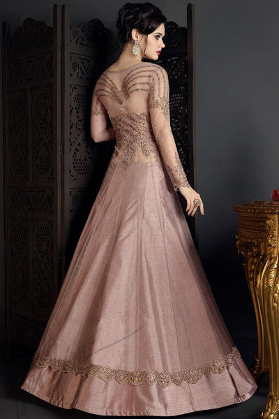 Indi Fashion Crepe Pink Net and Silk Party Wear Lehenga Style Suit
