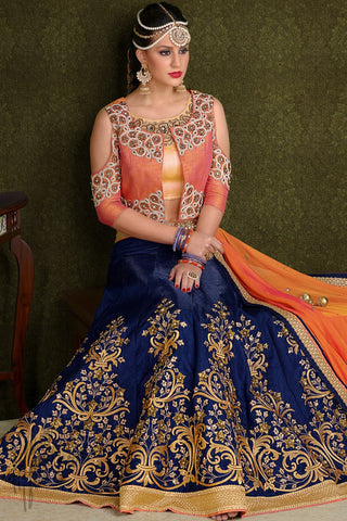 Indi Fashion Gold Peach and Navy Blue Silk Wedding Lehenga Set