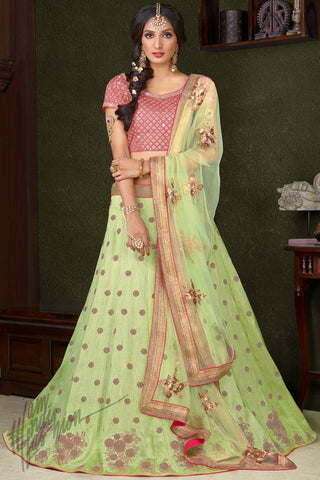 Indi Fashion Pink and Liril Green Silk Wedding Lehenga Set