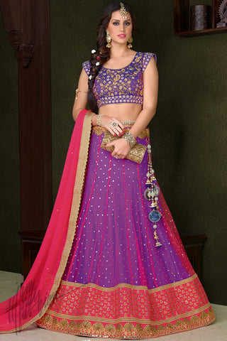 Indi Fashion Purple and Pink Premium Net Wedding Lehenga Set