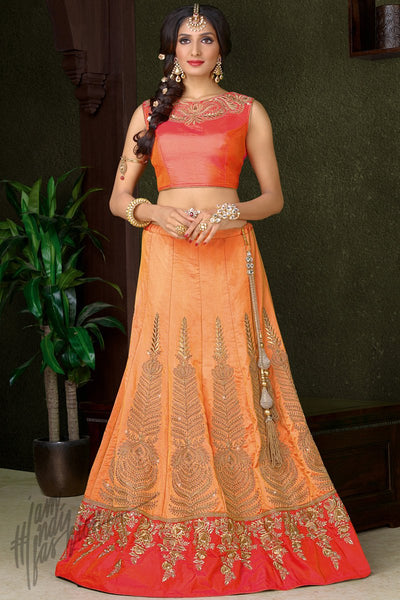 Indi Fashion Pink and Peach Silk Wedding Lehenga Set