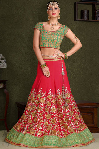 Indi Fashion Green and Hot Pink Silk Wedding Lehenga Set