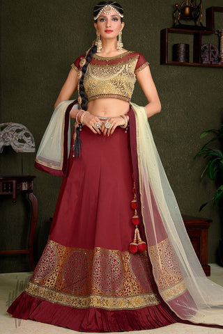 Indi Fashion Maroon and Gold Silk Wedding Lehenga Set