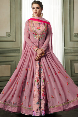 Purple Georgette and Slub Silk Party Wear Suit