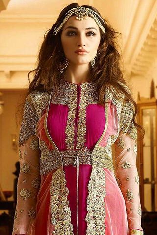 Indi Fashion Pink and Gold Georgette Party Wear Floor Length Suit
