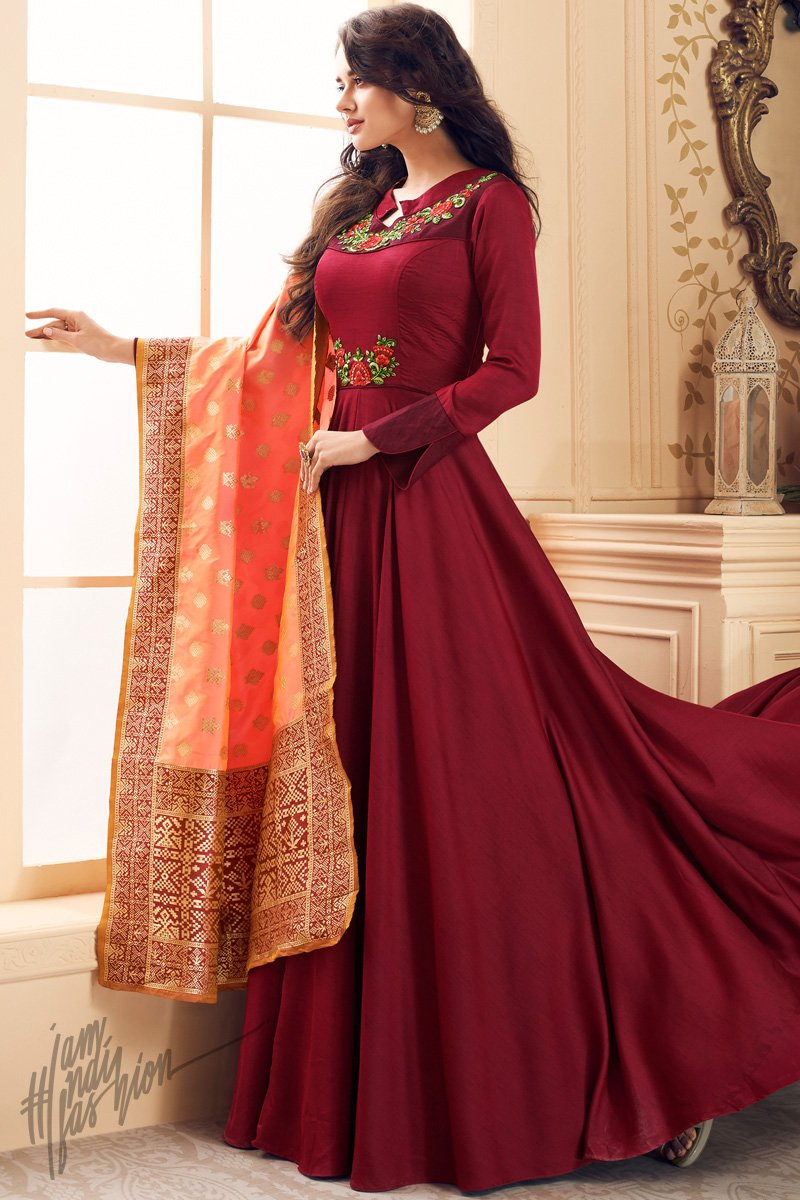 Berry Red and Peach Satin Floor Length Suit