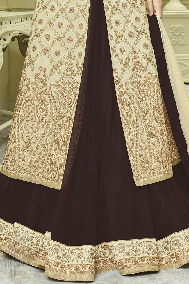 Indi Fashion Beige and Brown Silk Lehenga Style Suit