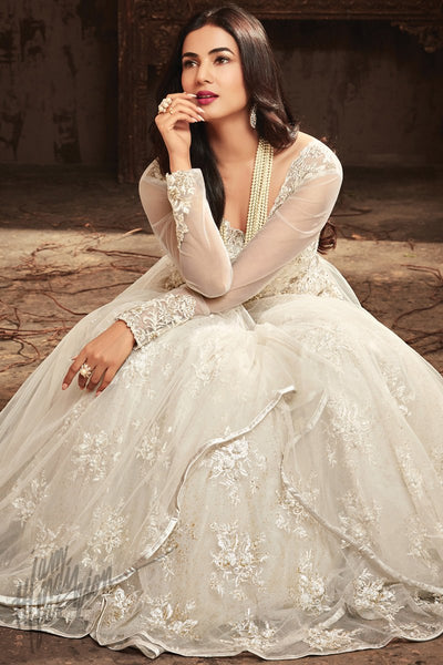 Indi Fashion Pearl White Net Layered Party Wear Floor Length Suit