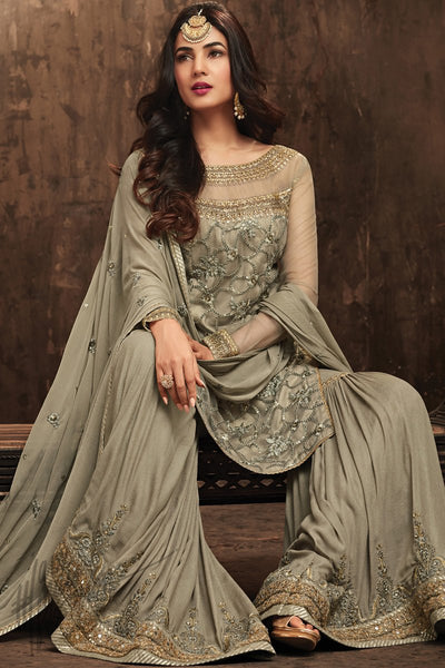 Indi Fashion Tate Olive Net Sharara Party Wear Suit