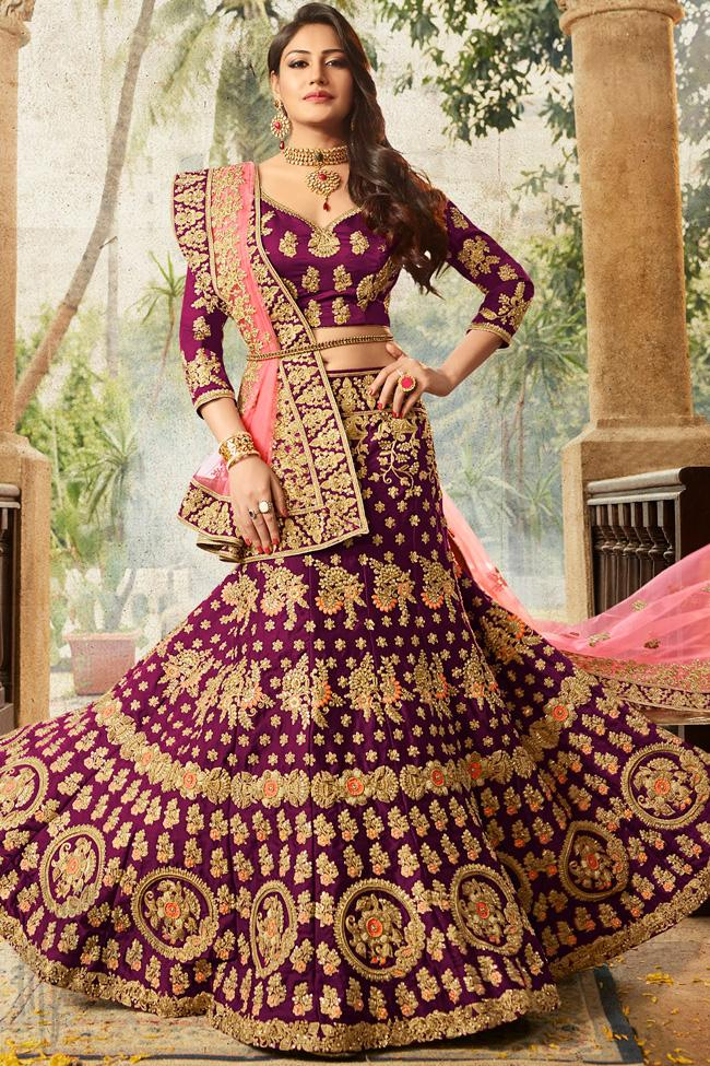 Indi Fashion Purple and Pink Velvet Lehenga Set