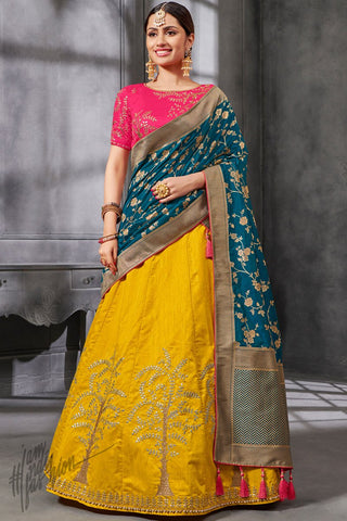 Pink Mustard and Blue Silk Lehenga Set