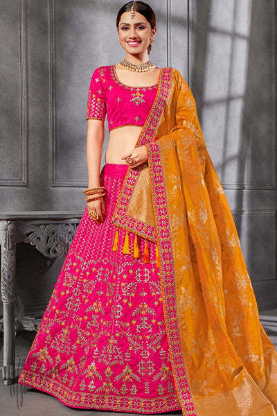 Hot Pink and Mustard Silk Lehenga Set