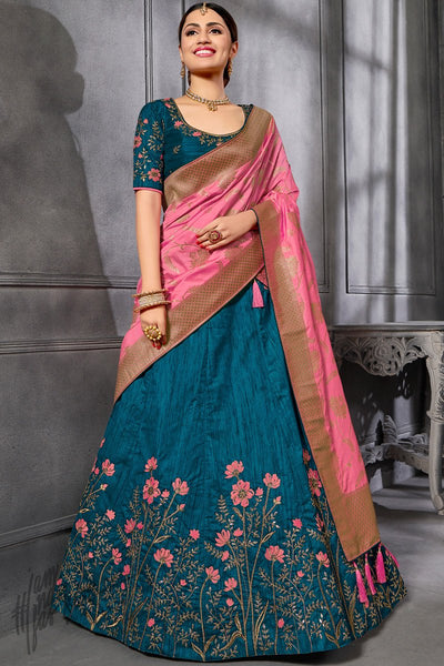 Peacock Blue and Rose Pink Silk Lehenga Set