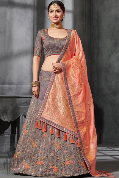 Mauve Gray and Peach Silk Lehenga Set
