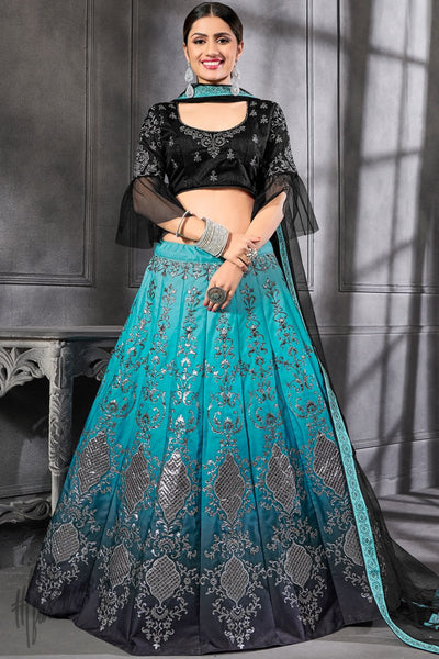 Black and Blue Ombre Silk Lehenga Set
