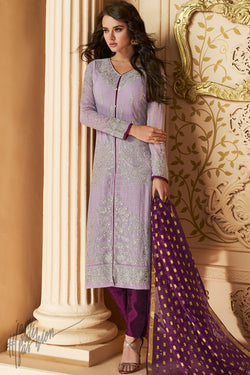 Mauve and Wine Apple Georgette Straight Suit