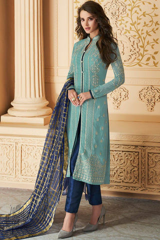 Light and Navy Blue Apple Georgette Straight Suit