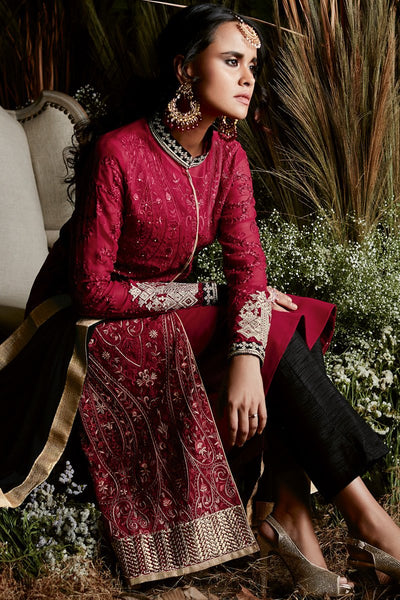 Indi Fashion Red and Black Georgette Party Wear Straight Suit