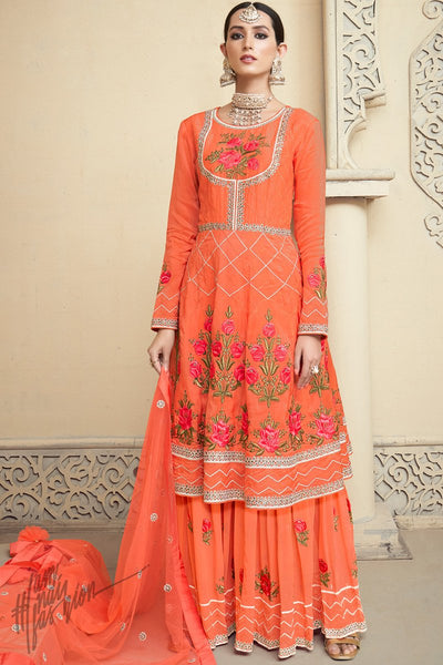 Sindoori Orange Upada Silk Party Wear Palazzo Suit