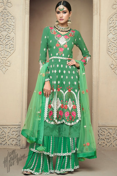 Parrot Green Upada Silk Party Wear Palazzo Suit