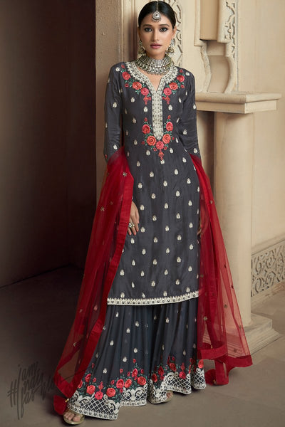 Dark Gray and Maroon Upada Silk Party Wear Palazzo Suit