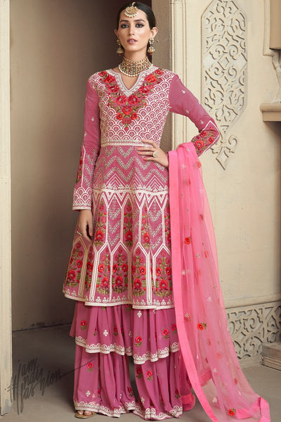 Onion and Baby Pink Upada Silk Party Wear Palazzo Suit