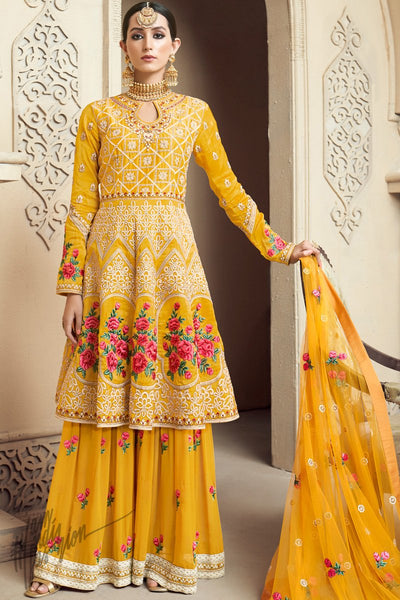 Yellow Upada Silk Party Wear Palazzo Suit