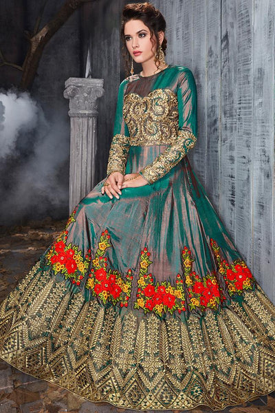 Indi Fashion Shadow Green Silk Floor Length Party Wear Suit
