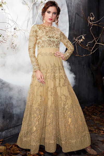 Indi Fashion Beige Net Floor Length Party Wear Suit