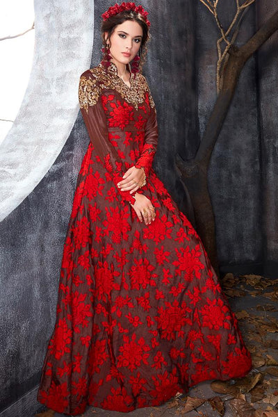 Indi Fashion Brown and Red Silk Floor Length Party Wear Suit