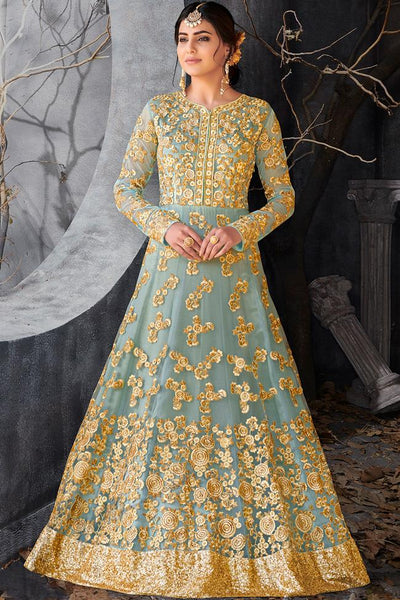 Indi Fashion Sky Blue and Gold Net Floor Length Party Wear Suit