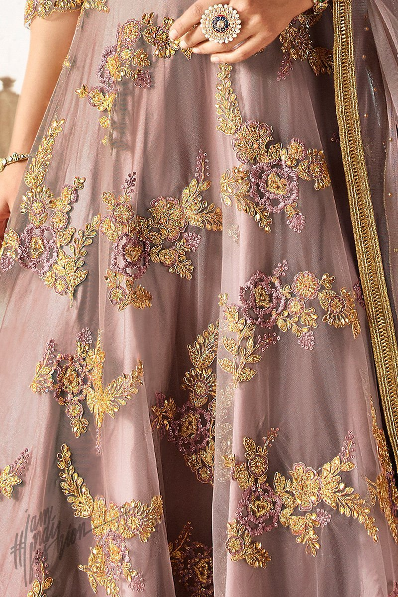 Mauve Net and Satin Silk Gown