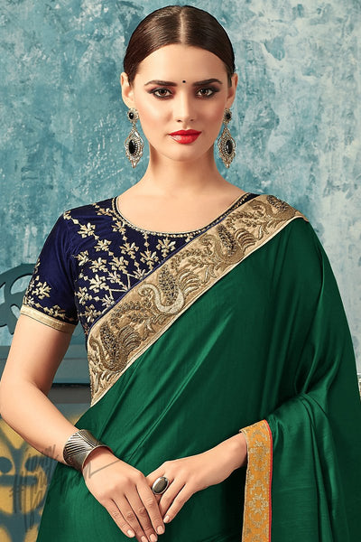 Indi Fashion Forest Green and Navy Blue Silk Party Wear Saree