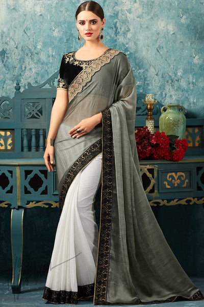 Indi Fashion Black Gray and White Half and Half Chiffon Party Wear Saree