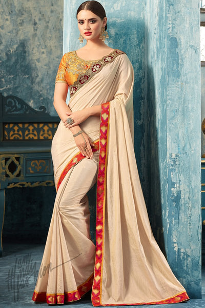 Indi Fashion Fanta Yellow and Ivory Silk Party Wear Saree