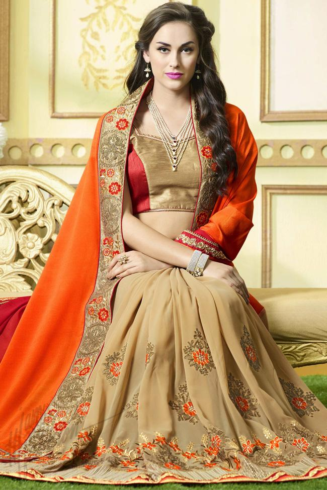 Indi Fashion Beige Orang and Red Shaded Half and Half Georgette Saree