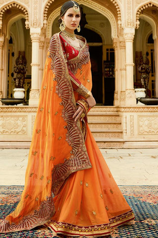 Buy Orange and Red Chiffon and Silk Saree Online at indi.fashion