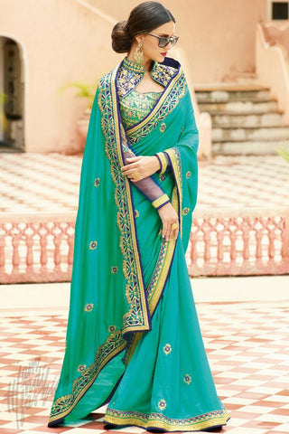 Buy Rama Green and Blue Silk Saree Online at indi.fashion