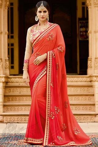Buy Reddish Orange and Beige Georgette Saree Online at indi.fashion